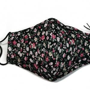 Bilde av Munnbind i svart bomull med blomster